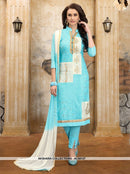 AC55127 - Sky Blue Color Cotton Salwar Kameez
