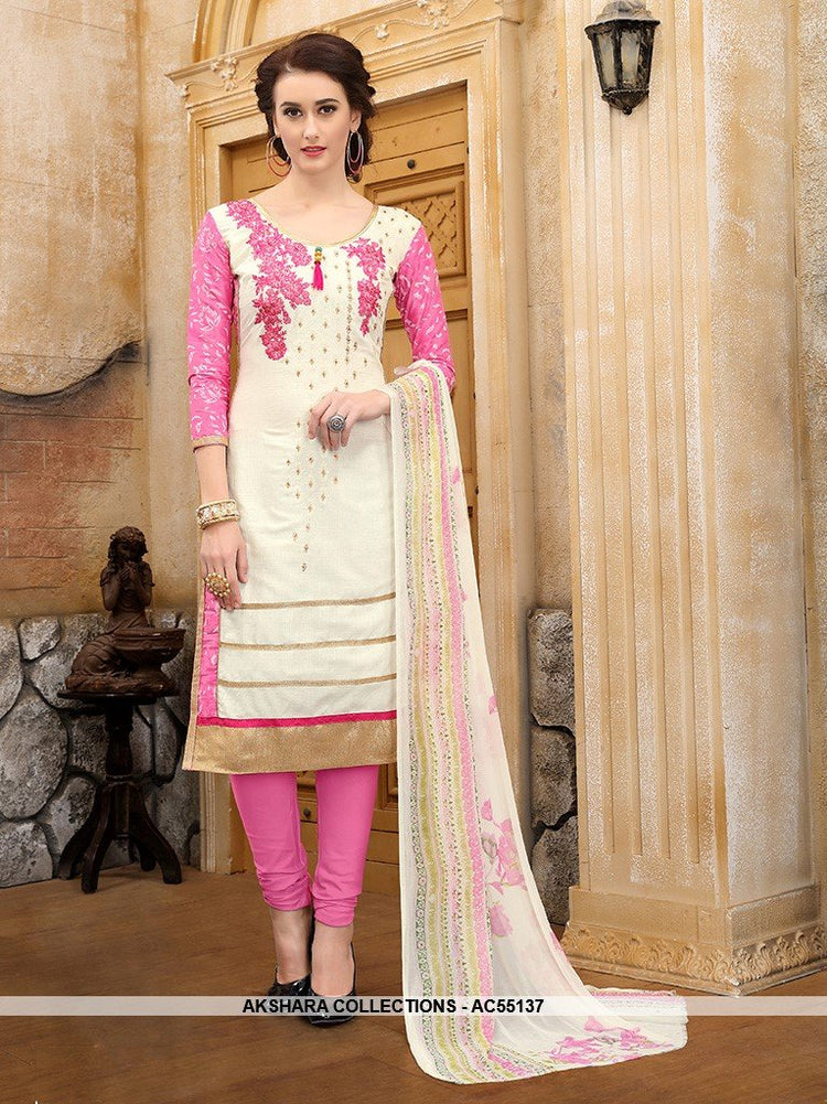 AC55137 - White and Pink Color Cotton Salwar Kameez