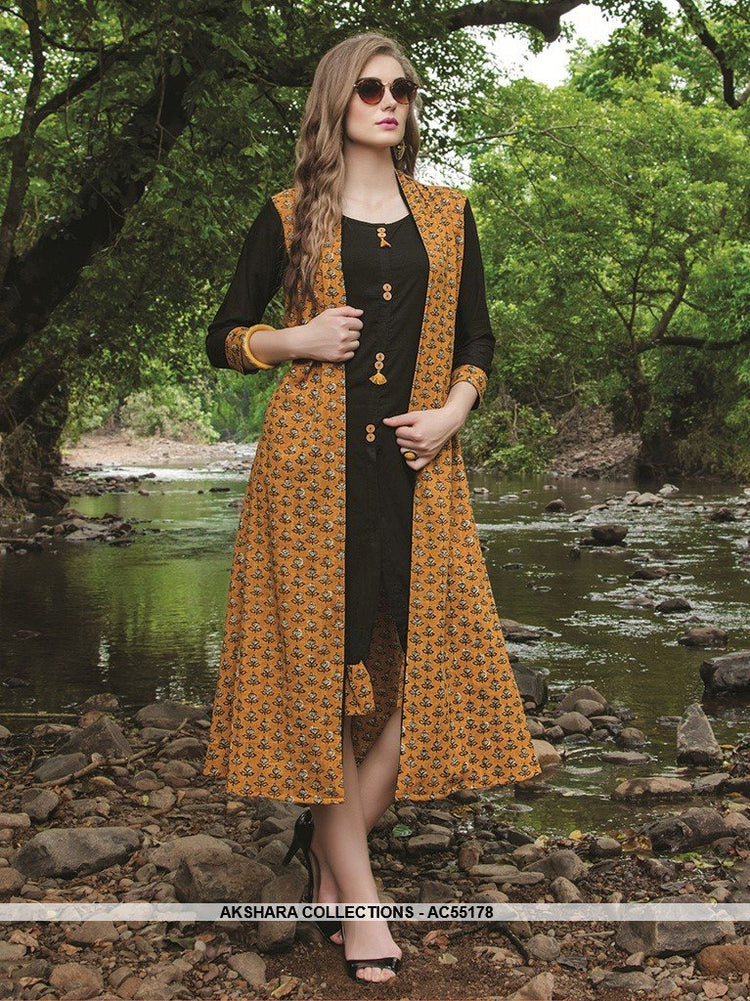AC55178 - Black and Yellow Color Cotton Kurti