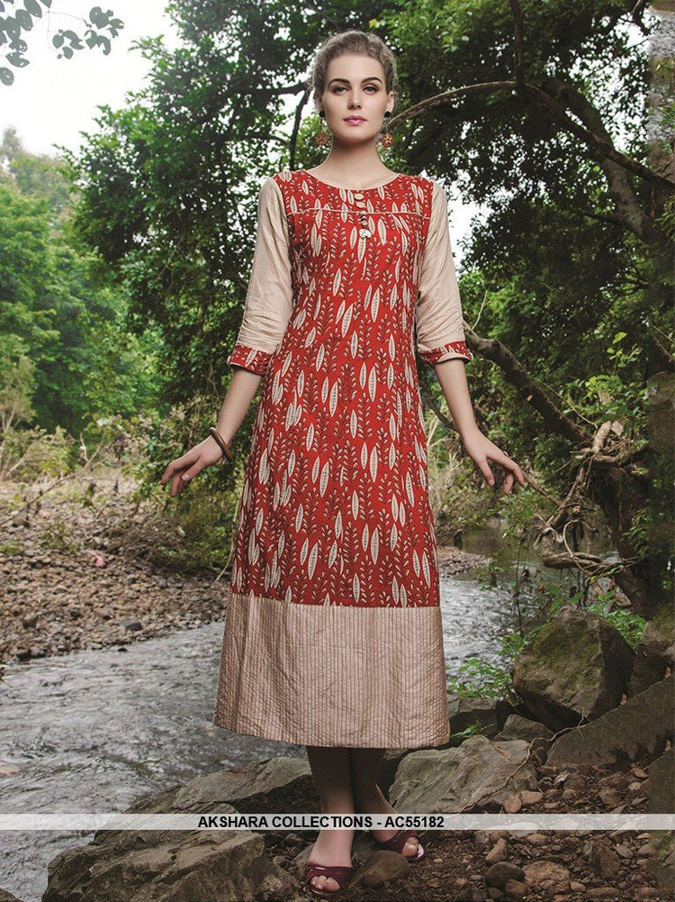 AC55182 - Red and Beige Color Cotton Kurti