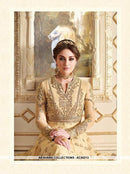 AC55213 - Cream Color Georgette and Net Salwar Kameez