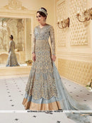 AC55216 - Grey Color Georgette and Net Salwar Kameez