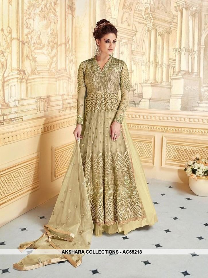 AC55218 - Dark Sea Green Color Georgette and Net Salwar Kameez