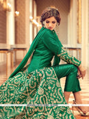 AC55283 - Dark Green Color Tafeta Silk Anarkali Suit