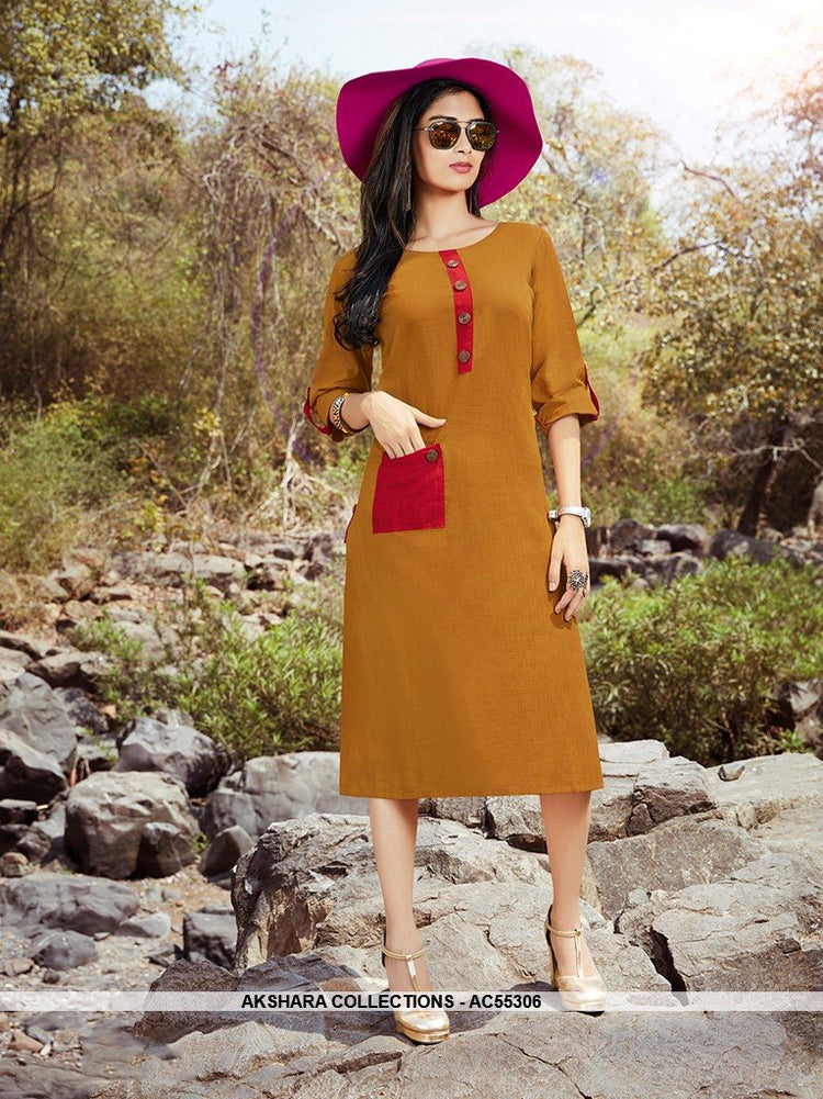 AC55306 - Musturd Yellow Color Cotton Kurti