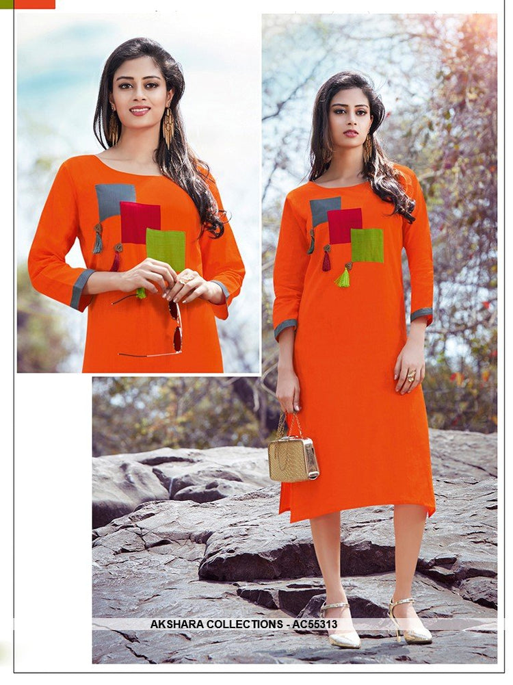 AC55313 - Orange Color Cotton Kurti