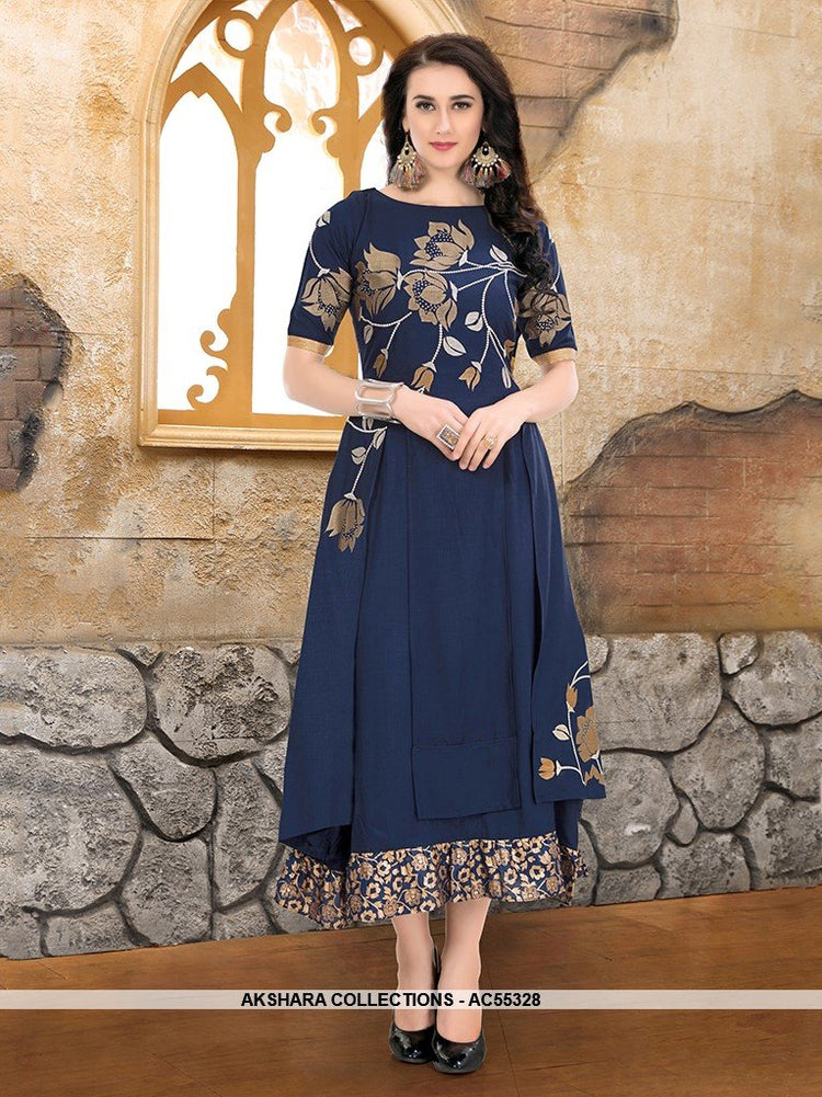 AC55328 - Navy Blue Color Cotton Blend Kurti