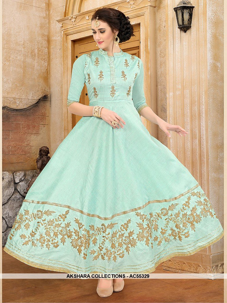 AC55329 - Baby Blue Color Art Silk Kurti