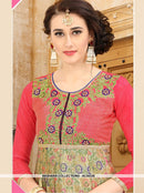 AC55330 - Pink and Beige Color Art Silk and Jacquard Silk Kurti