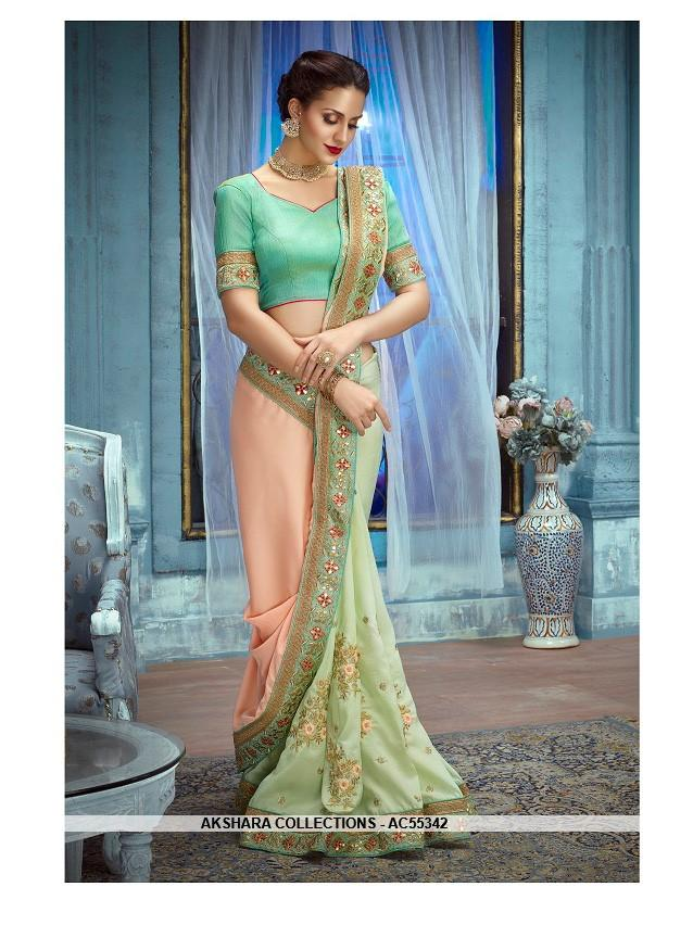 AC55342 - Peach and Pista Green Color Satin Silk Saree