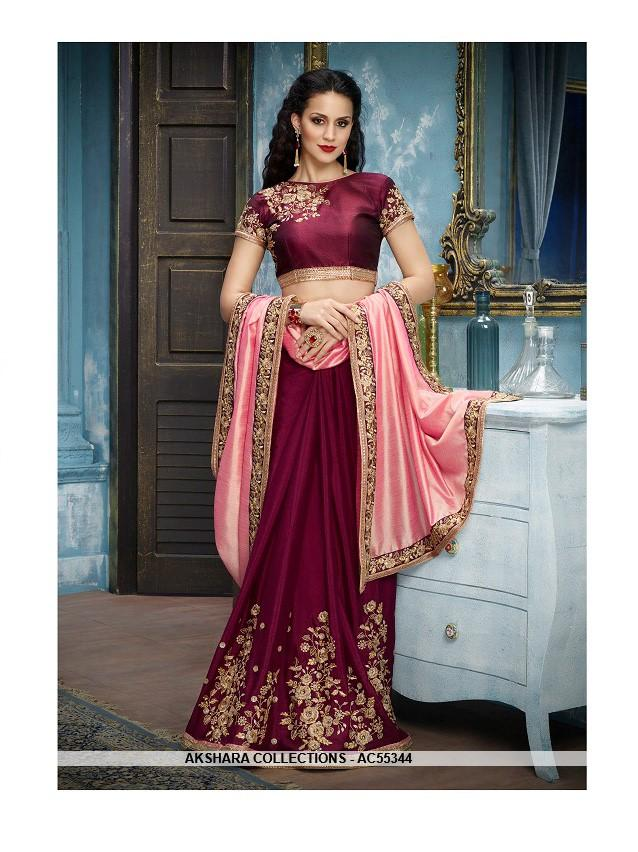 AC55344 - Pink and Purple Color Silk Georgette Saree