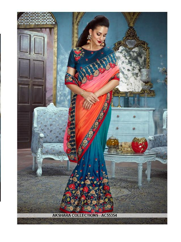 AC55354 - Red and Teal Color Silk Satin Saree