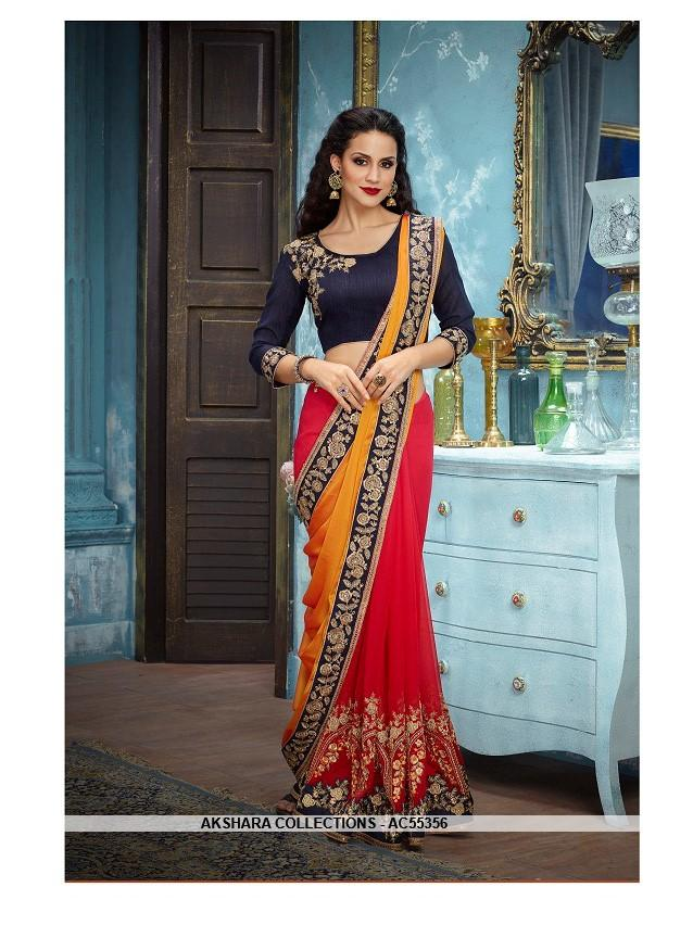 AC55356 - Yellow and Red Color Georgette Saree