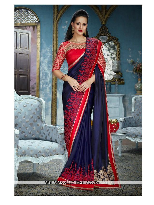 AC55357 - Navy Blue Color Silk Satin Saree