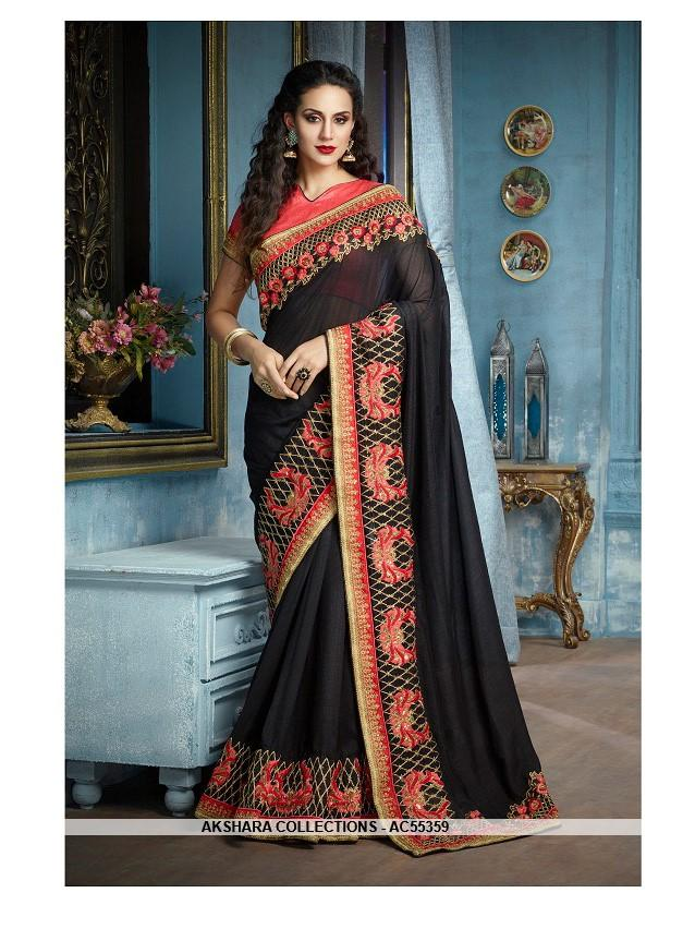 AC55359 - Black Color Silk Saree