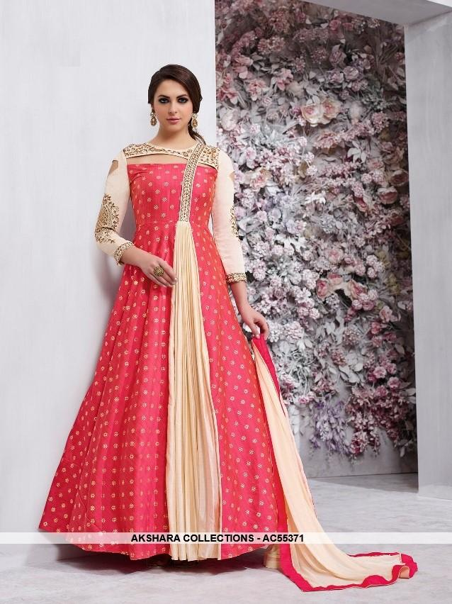 AC55371 - Pink and Cream Color Tafeta Silk Anarkali Suit