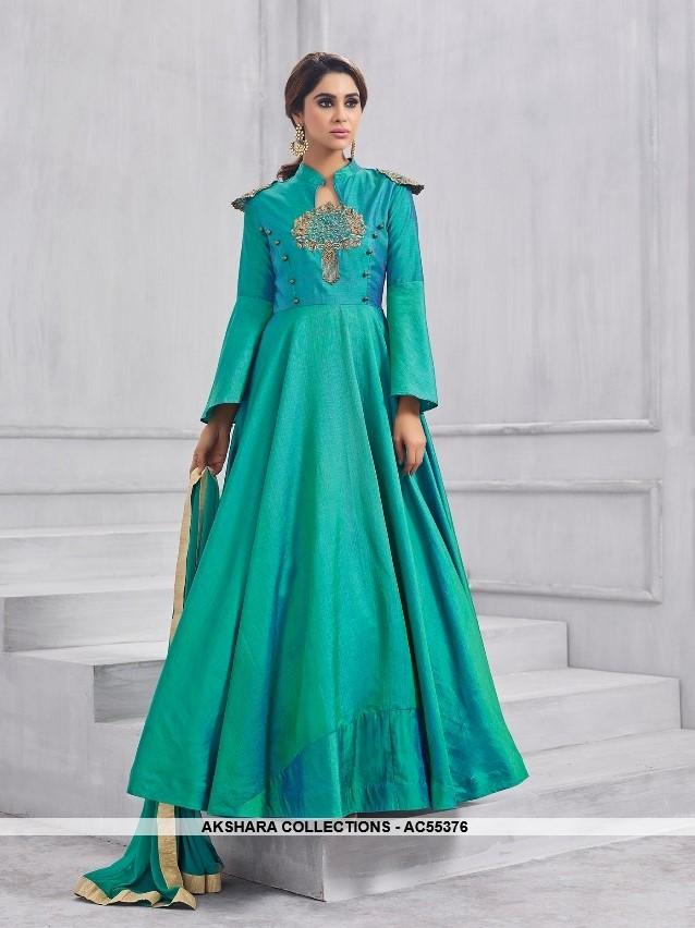 AC55376 - Light Sea Green Color Silk Anarkali Suit