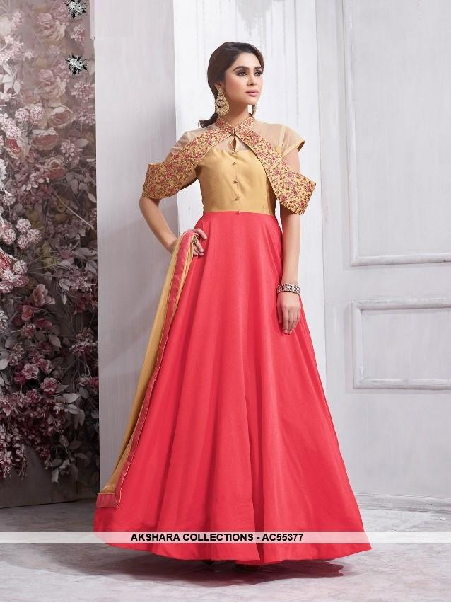 AC55377 - Beige and Red Color Tafeta Silk Anarkali Suit