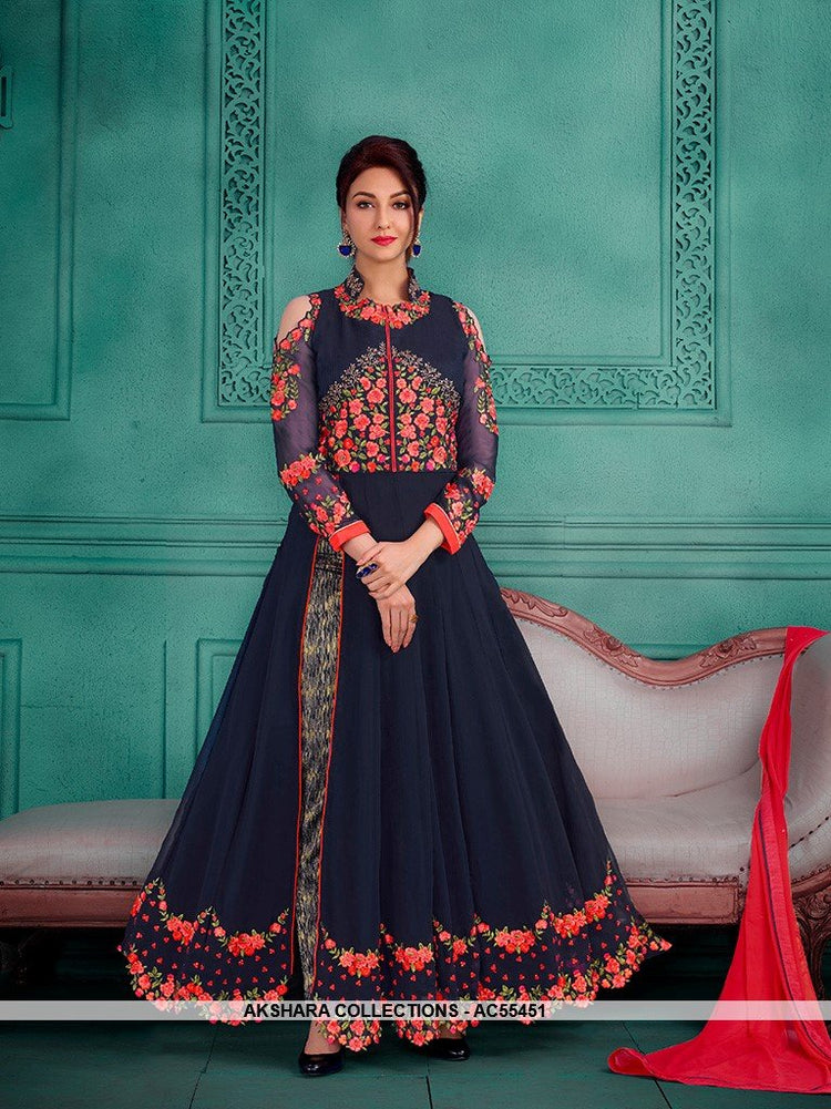 AC55451 - Navy Blue Color Georgette Anarkali Suit