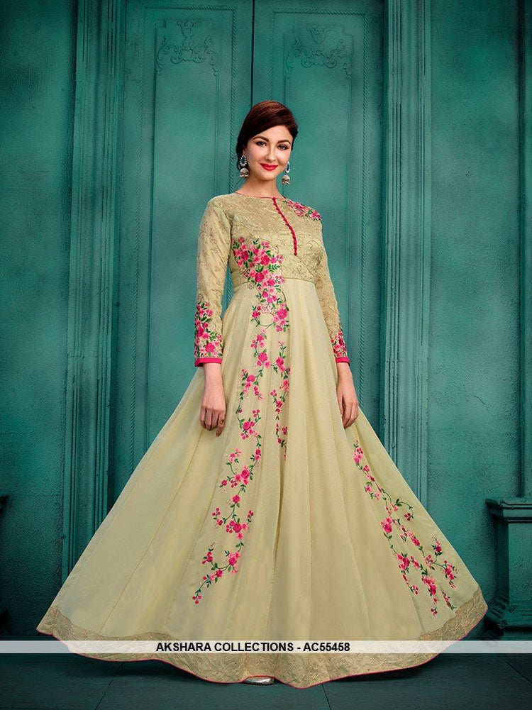 AC55458 - Cream Color Georgette Anarkali Suit