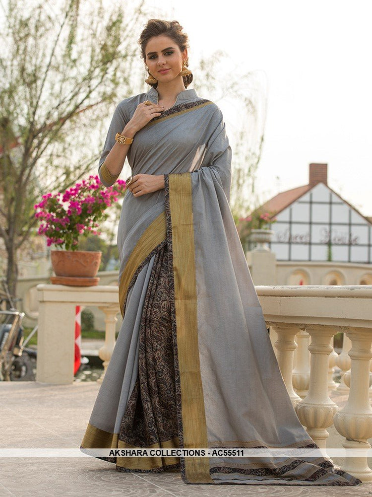 AC55511 - Grey Color Cotton Art Silk Saree