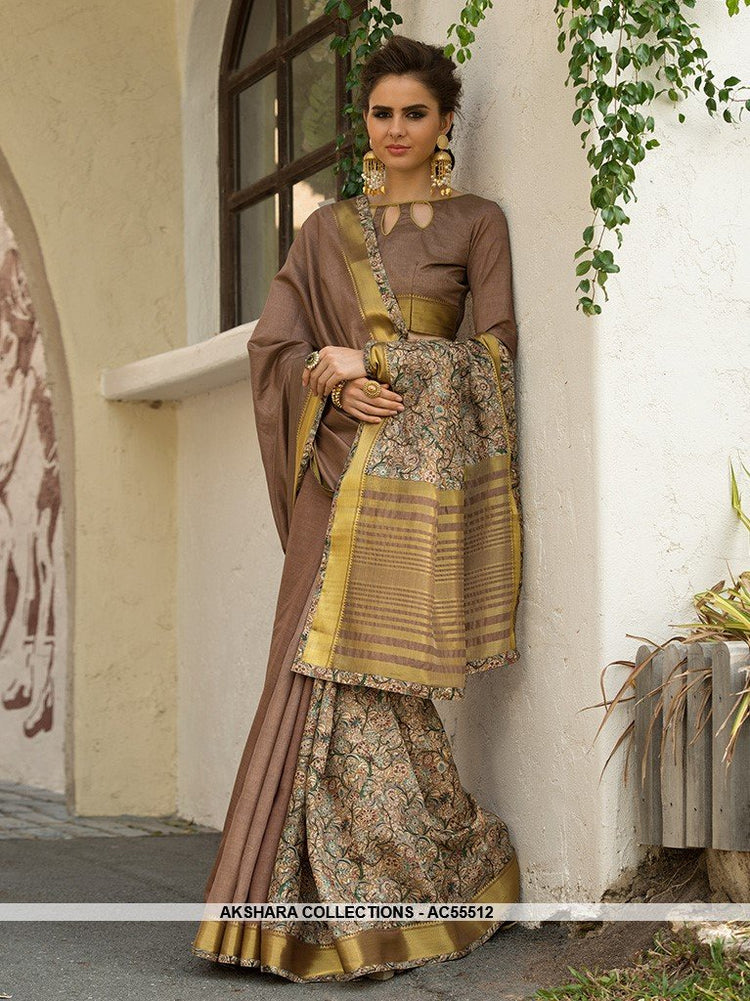 AC55512 - Light Brown Color Cotton Art Silk Saree