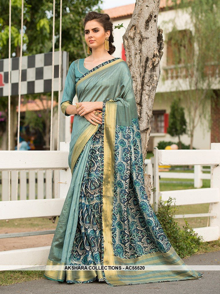 AC55520 - Baby Blue Color Cotton Art Silk Saree