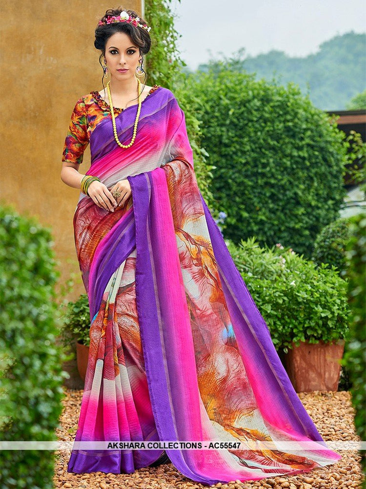 AC55547 - Purple and Pink Color Chanderi Silk Saree