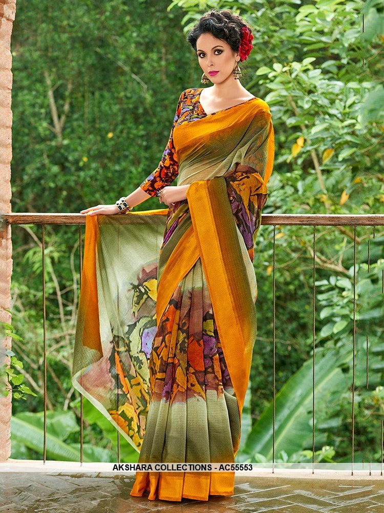 AC55553 - Yellow and Green Color Chanderi Silk Saree