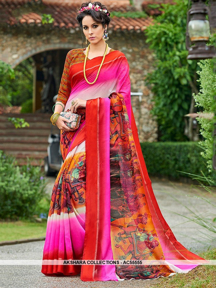 AC55555 - Pink and Red Color Chanderi Silk Saree