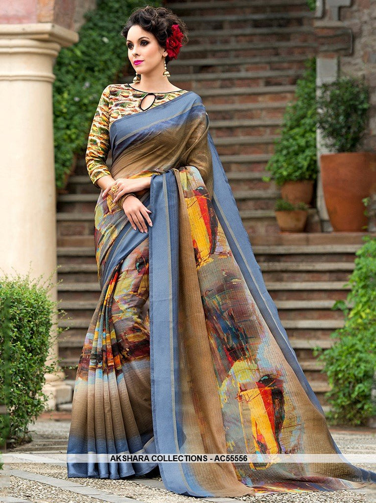 AC55556 - Light Brown and Blue Color Chanderi Silk Saree