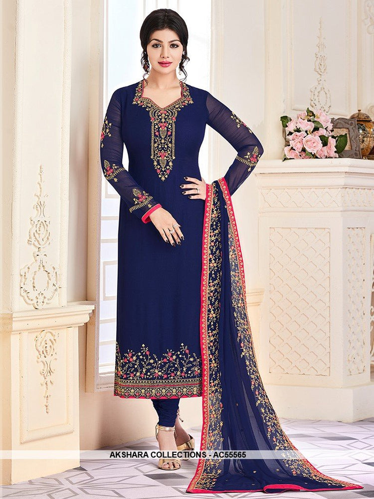 AC55565 - Blue Color Georgette Salwar Kameez