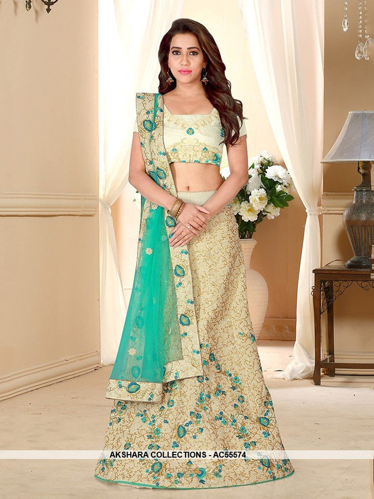AC55574 - Cream Color Silk Lehenga Choli