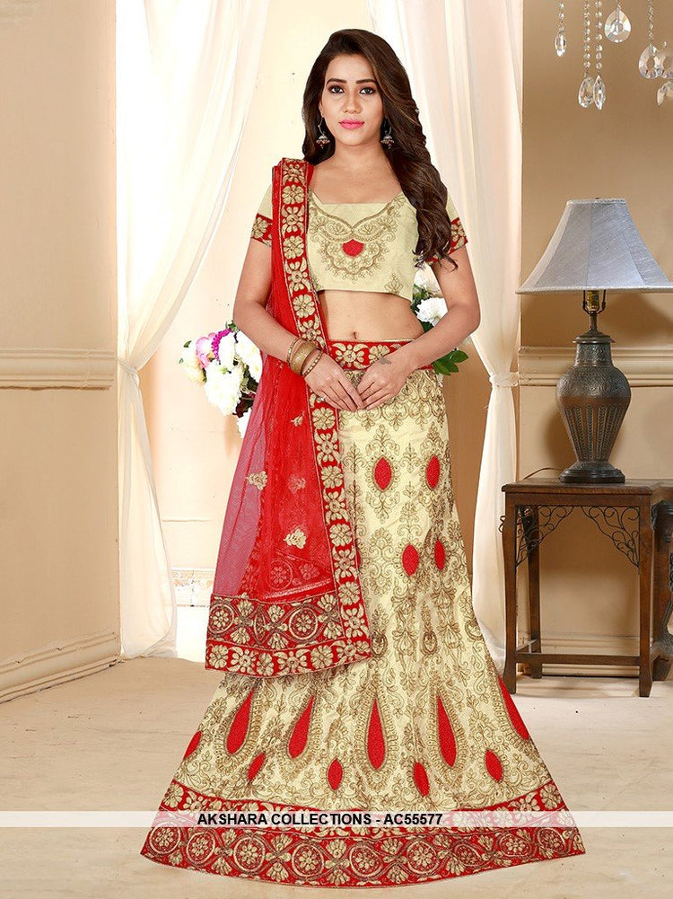 AC55577 - Cream Color Silk Lehenga Choli
