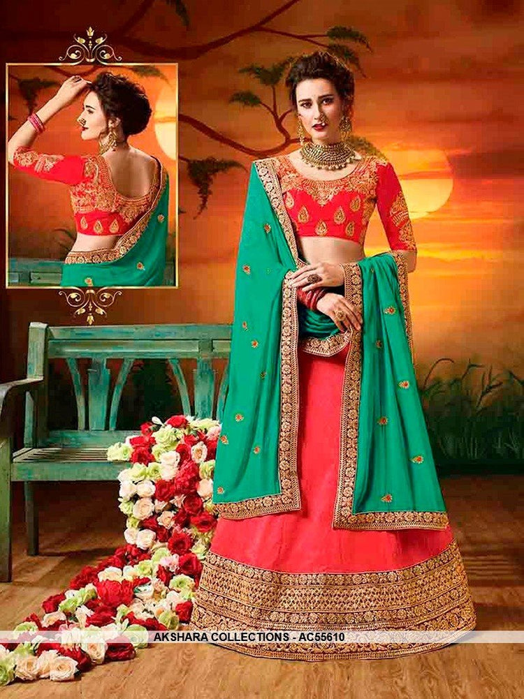 AC55610 - Salmon Color Soft Silk Lehenga Choli
