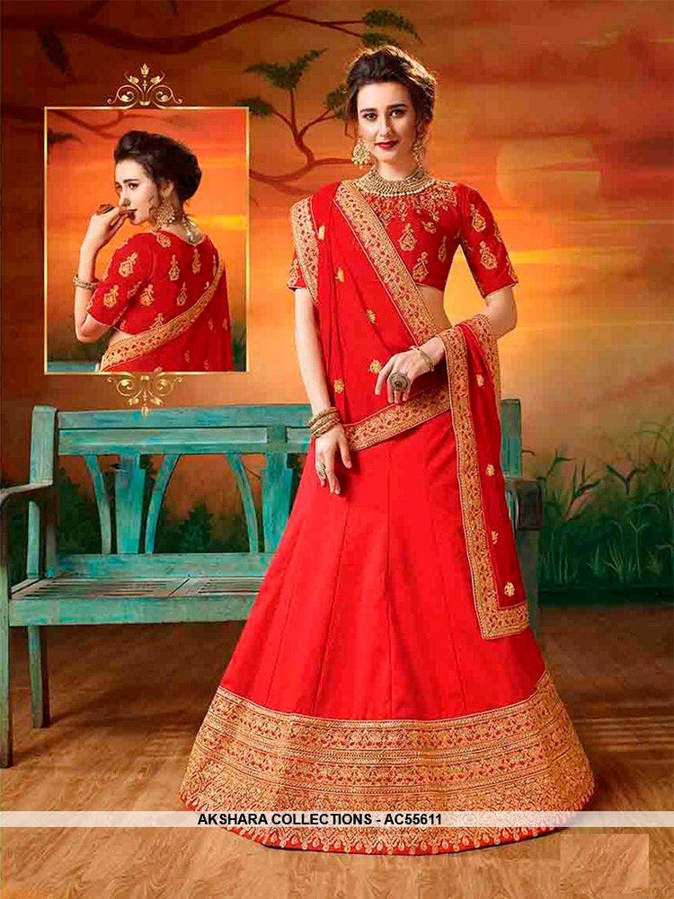 AC55611 - Red Color Soft Silk Lehenga Choli
