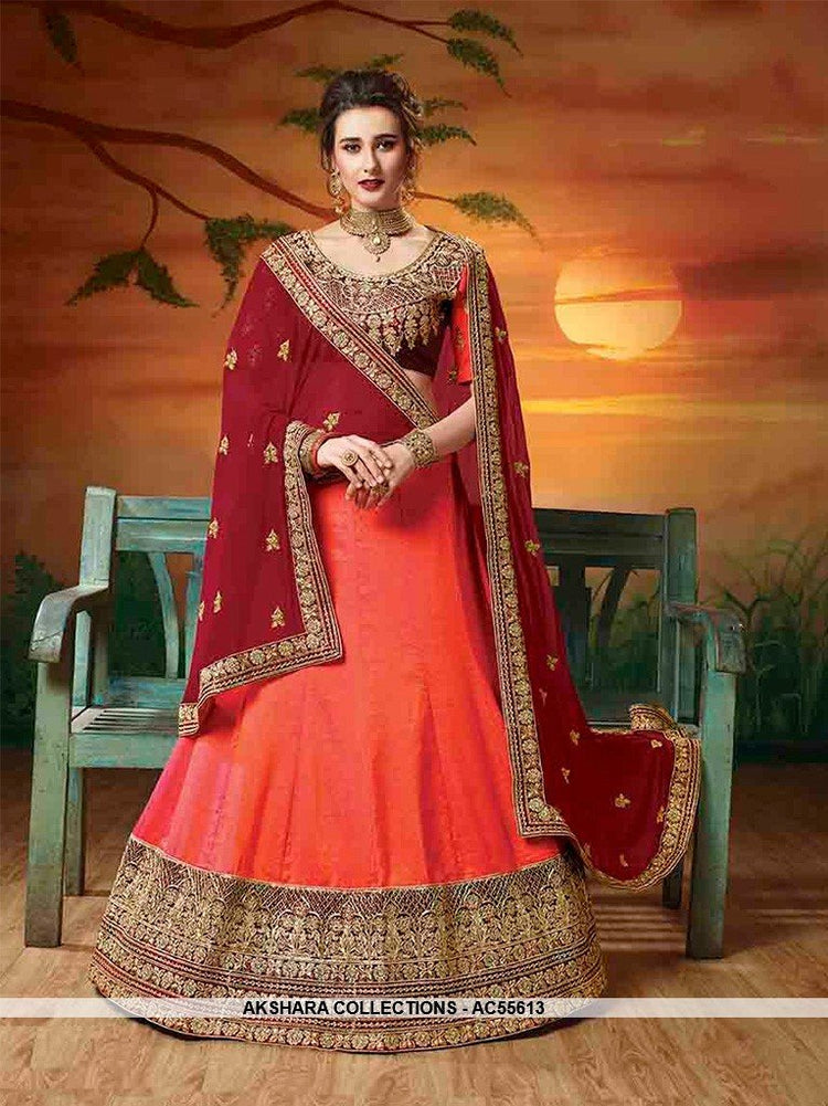 AC55613 - Orange Color Soft Silk Lehenga Choli