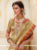 AC55630 - Beige Color Jacquard Silk Saree