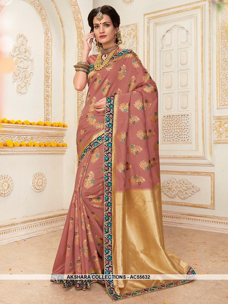 AC55632 - Dusty Pink Color Jacquard Silk Saree