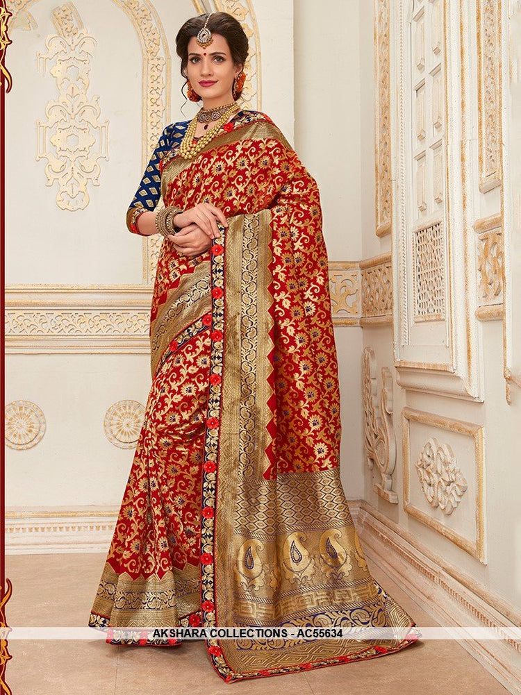 AC55634 - Red Color Jacquard Silk Saree