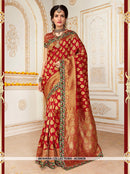 AC55638 - Red Color Jacquard Silk Saree