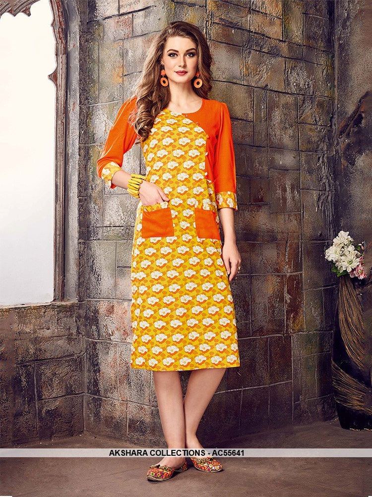 AC55641 - Yellow and Orange Color Cotton Kurti