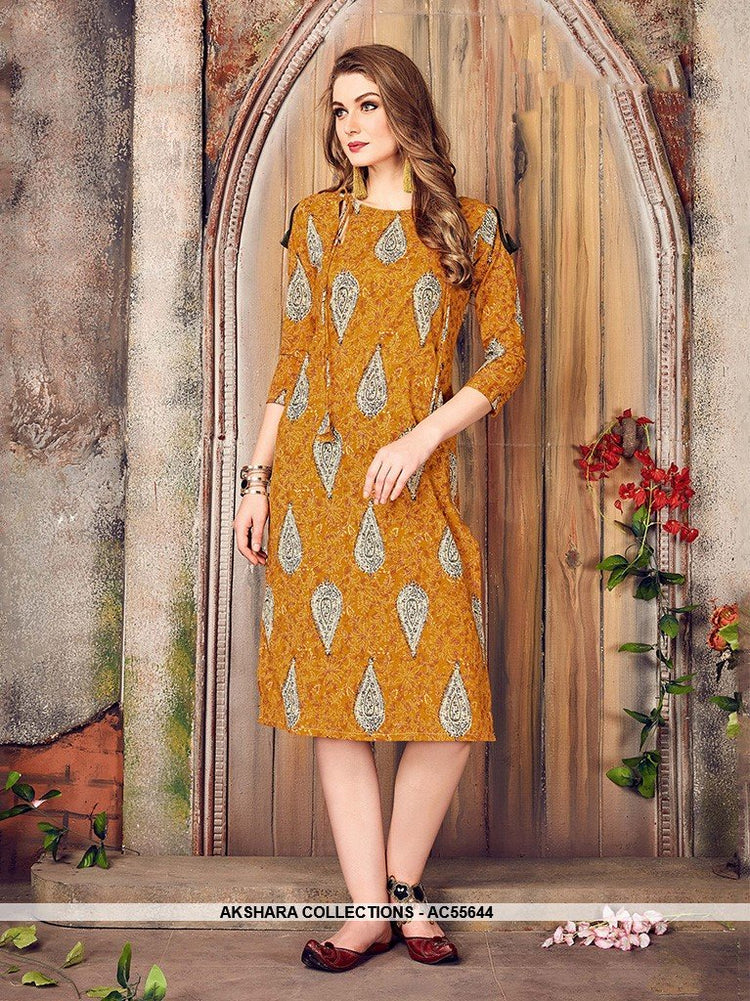 AC55644 - Musturd Yellow Color Cotton Kurti