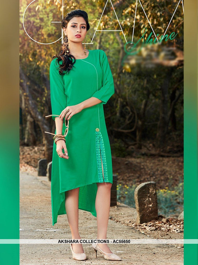 AC55650 - Green Color Cotton Kurti
