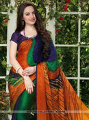 AC55725 - Green,Orange and Navy Blue Color Silk and Jacquard Saree