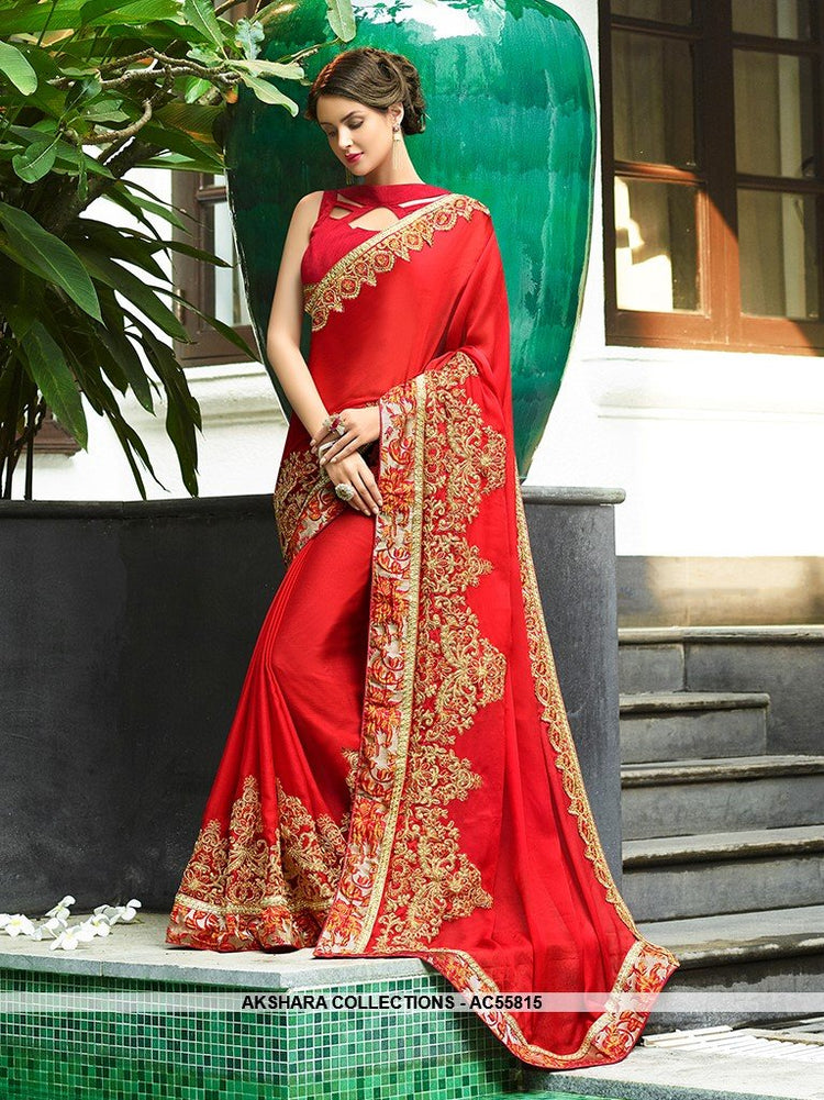 AC55815 - Red Color Chiffon Silk Saree