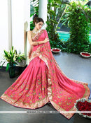 AC55816 - Pink Color Chiffon Silk Saree