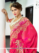 AC55819 - Fuschia Pink Color Georgette Saree