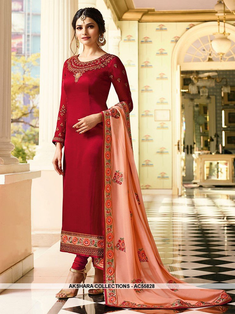 AC55828 - Red Color Soft Silk Churidar Suit