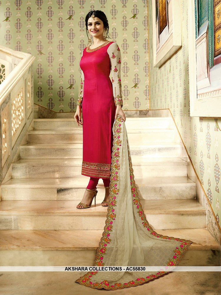 AC55830 - Dark Pink Color Soft Silk Churidar Suit